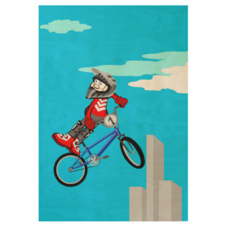Stingy bicycle BMX only of the handle-bar Wood Poster