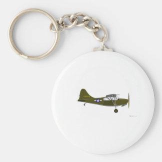 Stinson L-5B Air Ambulance Basic Round Button Key Ring