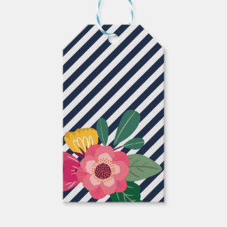Stiped Floral Gift Tag