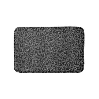 Stippled Black Leopard Print Bath Mat