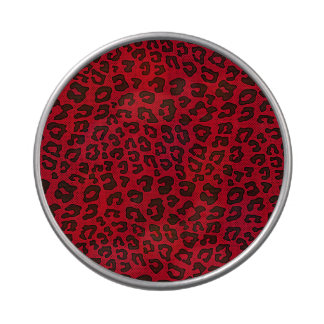 Stippled Cranberry Red Leopard Print Jelly Belly Candy Tins