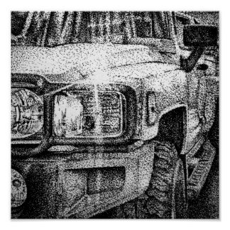 stippled jeep poster
