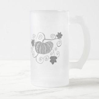 Stippled Pumpkin Frosted Glass Beer Mug