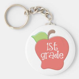 Stitch Apple 1st grade Basic Round Button Key Ring