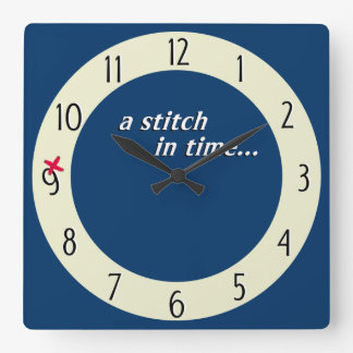 Stitch in time saves 9 clock - blue