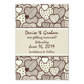 Stitched Brown Hearts Custom Save the Date Card