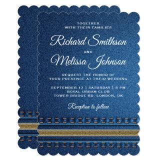 Stitched Denim Zipper Jeans Wedding Invitation