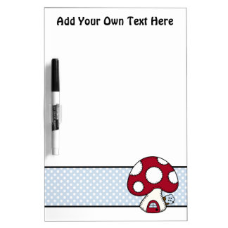 Stitched Design Red Mushroom House Fairy Home Dry-Erase Board
