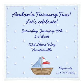 Stitched Edge Sailboat Invitation