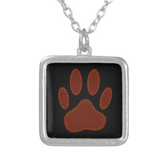 Stitched Felt Dog Paw Print Silver Plated Necklace