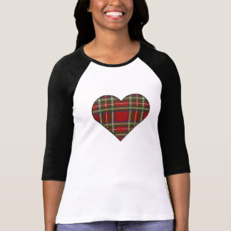 Stitched Royal Stewart Tartan Heart T-Shirt