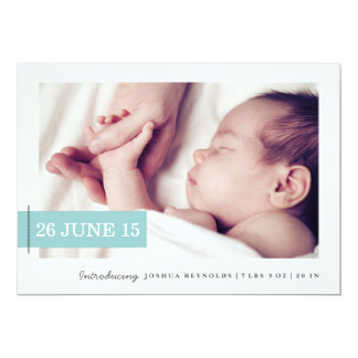 Stitched Tag Photo Birth Announcement Card