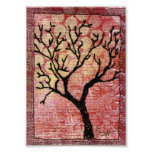 Stitched Tree on Painted Canvas - Red Photo Print