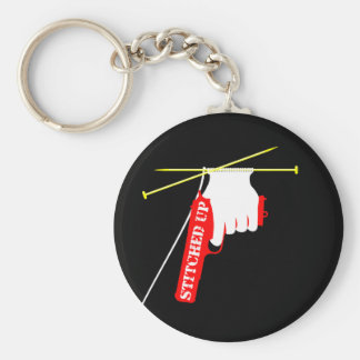 Stitched Up Knitted Gun Basic Round Button Key Ring