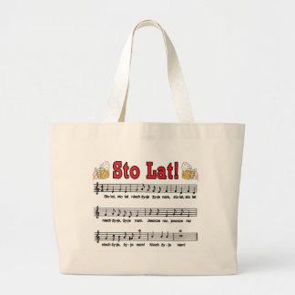 Sto Lat! Song With Beer Mugs Large Tote Bag