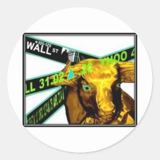 Stock Market Bull Classic Round Sticker
