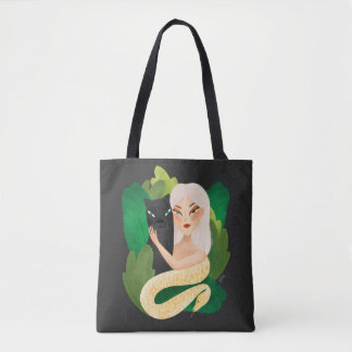 Stock market fabric - the girl of the forest tote bag