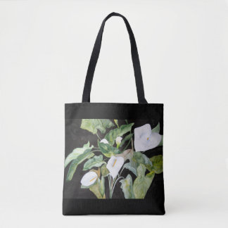 Stock market gannets in watercolor black bottom tote bag