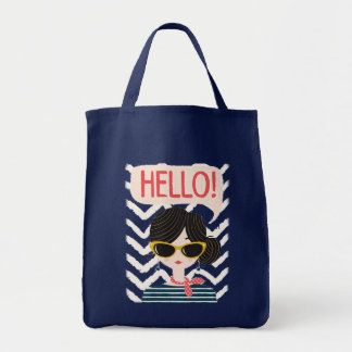"""Stock market """"Hello """" Grocery Tote Bag"""