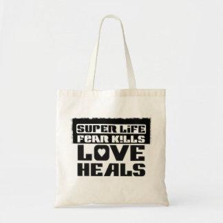 """Stock market """"Super Life to fear kills Love heals  Budget Tote Bag"""