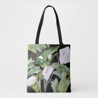 Stock market with watercolor of gannets tote bag