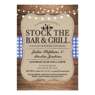 Stock The Bar and Grill Rustic Couple's Shower Card