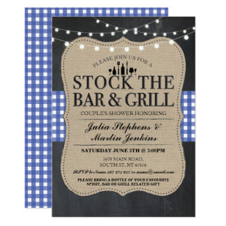 Stock The Bar and Grill Rustic Engagement Party Card