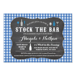 Stock The Bar Blue Engagement Party Invitation