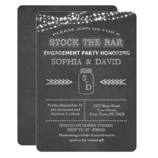 Stock the Bar Chalkboard Mason Jar Engagement Card