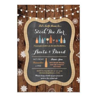 Stock The Bar Christmas Snowflake Wood Invitation