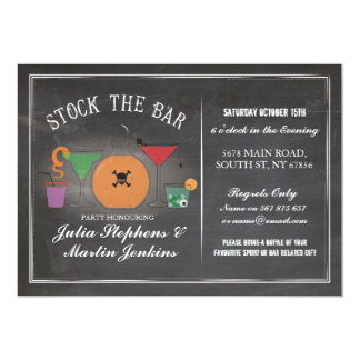 Stock The Bar Gothic Chalk Engagement Invite