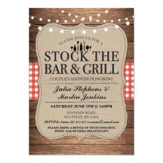 Stock The Bar & Grill Rustic Couple's Shower Card