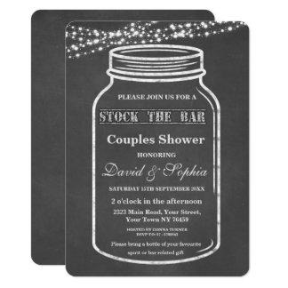 Stock the Bar Mason Jar Chalk Couples Shower Card