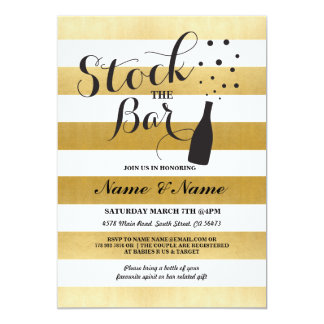Stock The Bar Stripe Gold Engagement Party Invite