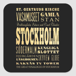 Stockholm City of United Kingdom Typography Art Square Sticker
