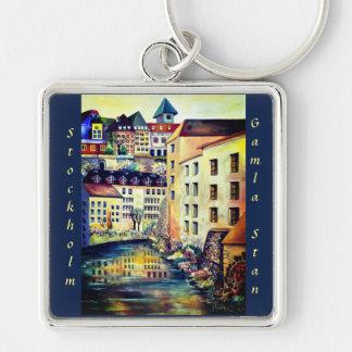 Stockholm , Gamla Stan, Sweden painting Key Ring