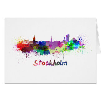Stockholm skyline in watercolor card