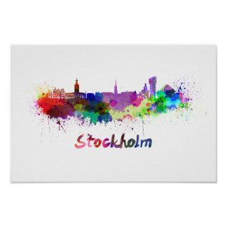 Stockholm skyline in watercolor poster