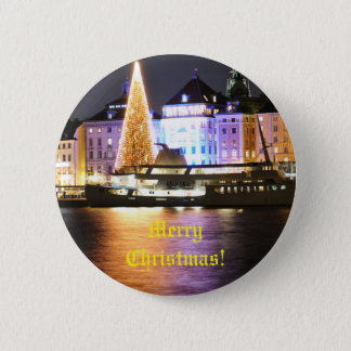Stockholm, Sweden at Christmas at night 6 Cm Round Badge