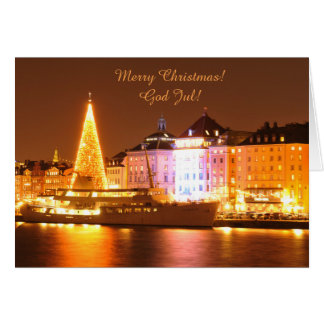 Stockholm, Sweden at Christmas at night Card