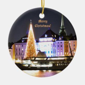 Stockholm, Sweden at Christmas at night Ceramic Ornament