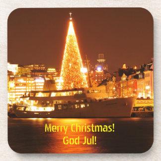 Stockholm, Sweden at Christmas at night Coaster