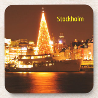 Stockholm, Sweden at Christmas at night Coaster
