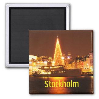 Stockholm, Sweden at Christmas at night Magnet