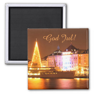 Stockholm, Sweden at Christmas at night Magnet