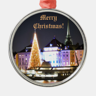 Stockholm, Sweden at Christmas at night Metal Ornament