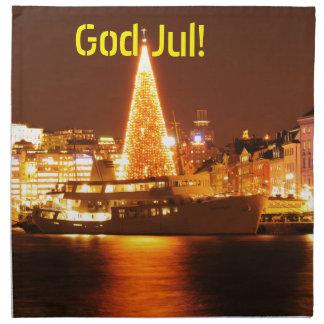 Stockholm, Sweden at Christmas at night Napkin