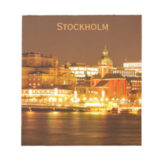 Stockholm, Sweden at Christmas at night Notepad