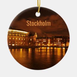 Stockholm, Sweden at night Ceramic Ornament