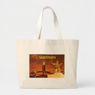 Stockholm, Sweden at night Large Tote Bag
